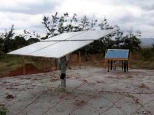 photo Solar panelled powered pump at borehole